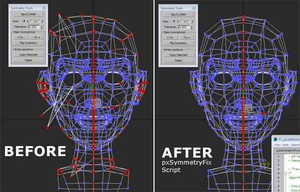 Fix Non-Symmetrical vertices of 3ds Max mesh to use with Symmetry Tool (SCRIPT: pXSymmetryTool)