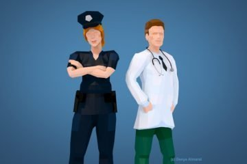 Free Low Poly Style Policewoman and Doctor 3D Characters