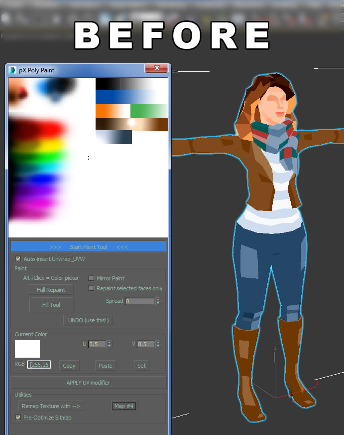 pXPolyPaint update: Remapping model UV to replace texture